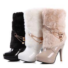 cde65e2ff71 Womens Fur Furry Chain Decor Pull On High Heels Stiletto Platform Mid Calf  Boots