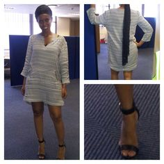 Shirt-dress and silk scarf. Perfect for a hot Friday.