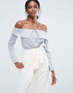 Camisa de algodón a rayas con escote Bardot de Lavish Alice
