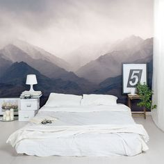 "The ""Mountain Mural"" Bedroom Makeover — From the Archives: Greatest Hits Dream Bedroom, Home Bedroom, Master Bedroom, Bedroom Decor, Bedrooms, Wall Decor, Diy Wall, Bedroom Ideas, Bedroom Murals"