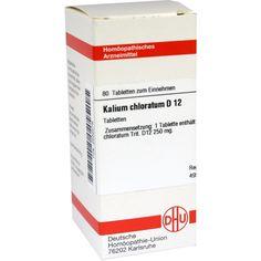 KALIUM CHLORATUM D 12 Tabletten:   Packungsinhalt: 80 St Tabletten PZN: 02632276 Hersteller: DHU-Arzneimittel GmbH & Co. KG Preis: 5,95…