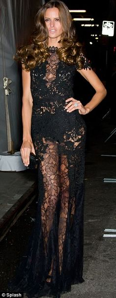 Izabel Goulart in Lethicia Bronstein Black lace dress