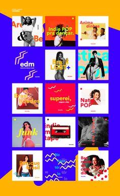 Escutaí - Brand & Spotify on Behance Web Banner Design, Web Design, Book Design, Social Media Instagram, Instagram Grid, Instagram Design, Instagram Music, Social Media Template, Social Media Design