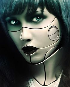 In this Photoshop tutorial we will make a realistic refinery using matte painting technique, I'll show you some photo manipulation techniques to transform a picture of a girl into a female with cyborg characteristics. If you want to take your Photos. Cyborg Girl, Female Cyborg, Maquillaje Halloween, Halloween Makeup, Halloween Party, Transhumanist Art, Photoshop Cs5 Tutorials, Photoshop Actions, Robot Makeup