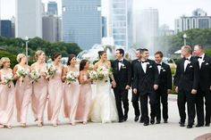 Bridal party colors, except bridesmaids will be slightly more varied (but two are actually wearing gowns like these by Amsale, and groom/groomsmen will wear black tie)
