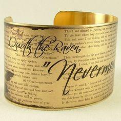 Edgar Allan Poe - 'Nevermore' - The Black Raven Macabre Literary Quote Brass Cuff Bracelet
