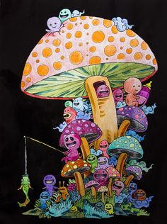DOODLE INVASION MUSHROOM OF SADNESS Ilustrador ROSANES KERBY Painted By INSTANT PIC