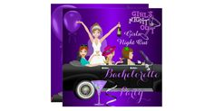 Bachelorette Party Purple Fun Limo Car Cocktails Drinks. Invitation All Occasions Party Bachelorette Girls Night Out Hens Party. Customize with your own details and age. Template for Sweet 16, 16th, Quinceanera 15th, 18th, 20th, 21st, 30th, 40th, 50th, 60th, 70th, 80th, 90, 100th, Fabulous product for Women, Girls,  Zizzago created this design from Copyright Images from Delightful-Doodles.com. PLEASE NOTE all flat images! They Do NOT have real Glitter, Diamonds Jewels or real Bows!!