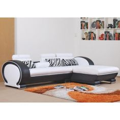 Black & White Modern Leather Sectional Sofa - LSF - Sectional Sofas - Living Room