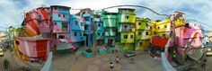 Sequestered within the city of Rio de Janeiro, two men are giving the poor, compact community of Santa Marta a radiant makeover. Jeroen Koolhaas and Dre Urhahn originally came to the favelas of Brazil in 2005 to film a documentary about hip hop for… Santa Marta, Favelas Brazil, Art Du Monde, Voyager Loin, Dutch Artists, Slums, Best Cities, Public Art, Public Spaces