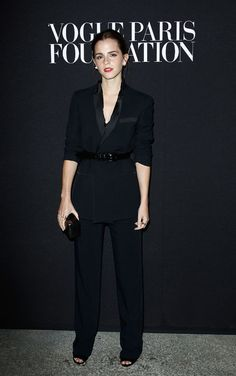 Emma Watson in a Givenchy black pantsuit