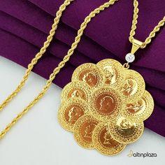 Onlu çeyrek altından oluşan yeni kolye modeli. 10 Adet çeyrek altının birleşmesinden oluşan altın kolye fiyatı ve taksit avantajı ile yeni trend oldu. On Çeyrek Altınlı Halat Zincirli Kolye , Gold Bangles Design, Gold Jewellery Design, Gold Jewelry, Fine Jewelry, Gold Necklace, Necklace Set, Fashion Rings, Fashion Jewelry, Gold Mangalsutra Designs