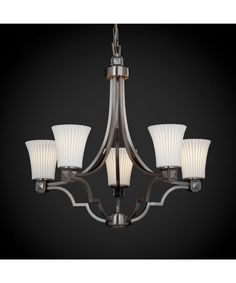 Shown in Brushed Nickel finish, Pleats glass and Round Flared (POR) shade