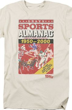 Gray's Sports Almanac T-Shirt Design and illustrations from Back to the Future II film this men's fashion features time travel and technology.