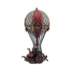 """9.75"""" Steampunk Hot Air Balloon Sculpture Home Decor Statue Figurine... ($61) ❤ liked on Polyvore featuring home, home decor, steampunk, hot air balloon home decor and steampunk home decor"""