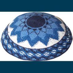 Blue Star Knitted Kippah