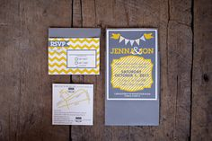 Our wedding invitations. Designed and hand screen printed them myself. Jenna added the paper bunting on a string.