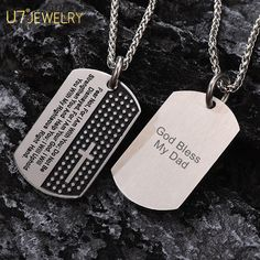 Engravable Cross Bible Dog Tag Necklace Christian Jewelry, My Dad, Boyfriend Gifts, Fathers Day Gifts, Dog Tags, Dog Tag Necklace, 18k Gold, Bible, Valentines