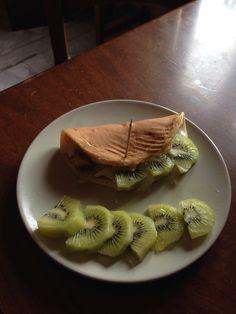 Breakfast with pancake,kiwi and yogurt!