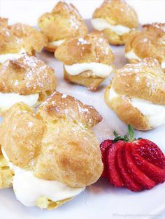 Easy Cream Puffs w/Lemon Filling are a light and puffy dessert, perfect for spring baby or wedding showers, even Easter. Beautiful presentation and so easy to make!