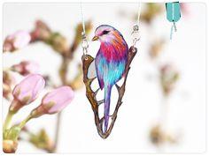 Halskette mit Vogelzeichnung, • Gabelracke von fraufischersSpielwiese auf DaWanda.com
