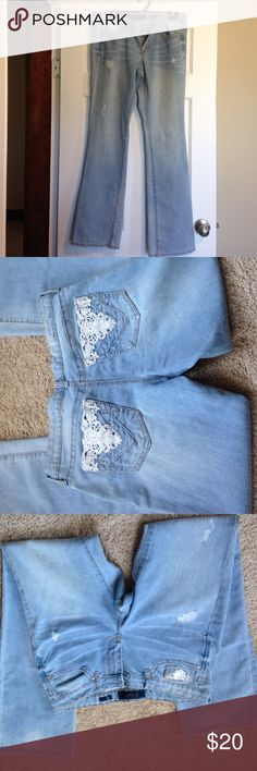 Jessica Simpson bootcut jeans Jessica Simpson bootcut denim jeans. Light color denim has pattern on backside and front pocket. Jeans were never really worn in great condition. Jessica Simpson Jeans Boot Cut