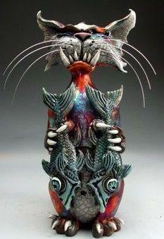 Ceramic Fish, Ceramic Animals, Ceramic Clay, Raku Pottery, Pottery Art, 3d Studio, Paperclay, Cat Art, Rockabilly