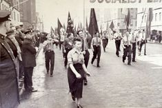 Maya Deren in anti-fascist rally, New York City, 1939