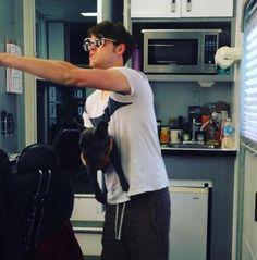 Chord Overstreet with Jenna Ushkowitz's dog on the set of #glee! #GleeSeason6