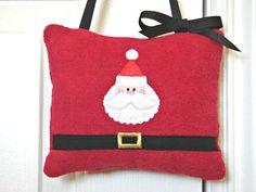 Christmas Door Hanger Santa Red White Black by PookieandJack, $10.00