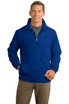 Port Authority 1/2-Zip Wind Jacket. J703 True Blue