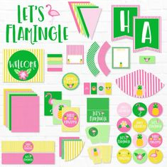 Flamingo Party PRINTABLES by Lindi Haws of Love The Day Luau Party, Diy Party, Pendant Banner, Drink Labels, Party Flags, Flamingo Party, Baby Shower, Gift Tags Printable, Holiday Themes