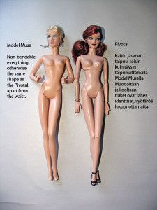 Comparison between the pivotal Barbie body and the model muse Barbie body