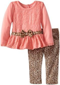 Nannette Baby-Girls Infant 2 Piece Jaguar Print Shirt and Pant, Pink, 12 Months… Toddler Pants, Toddler Outfits, Kids Outfits, American Girl Clothes, Girls Fashion Clothes, Kids Winter Fashion, Kids Fashion, Cute Baby Girl, Baby Girls