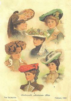 Please feel free to use in your art:) Edwardian Era, Edwardian Fashion, Vintage Fashion, Victorian Women, Vintage Images, Vintage Art, Vintage Beauty, Tea Hats, Spring Hats