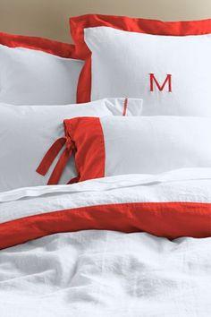 Shelby Linen Border Duvet Cover, Sham or Bedskirt from Lands' End Coral Bedding, Bedding Sets, How To Dress A Bed, Linen Duvet, Linen Sheets, Bedroom Bed, Bedroom Ideas, Master Bedrooms, Bedroom Inspiration