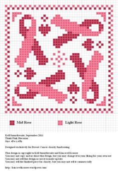 Design: Think Pink Biscornu Size: x Designer: Kell Smurthwaite, Kincavel Krosses Designed exclusively for Breast Cancer charity fundraising Permissions: This design is copyright to K… Biscornu Cross Stitch, Cross Stitch Heart, Cross Stitch Embroidery, Embroidery Patterns, Cross Stitch Designs, Cross Stitch Patterns, Breast Cancer Crafts, Stitch Crochet, Awareness Ribbons