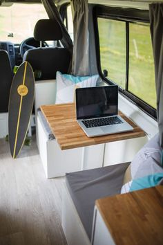 Light, airy Maggie has so much space and sophistication that you'll feel like you're in a mountain chalet or a boutique Scandinavian retreat. Van Interior, Camper Interior, Interior Design, Interior Ideas, Volkswagen Bus Interior, Glamping Uk, Travel Trailer Decor, Van Design, Cool Campers