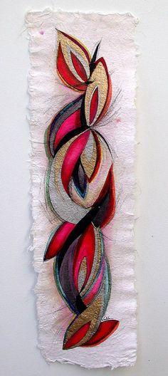 Valda Fitzpatrick Artwork: abstract flower pettals   Original Drawing Ink   Abstract Art