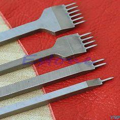 conjunto cuero artesanal herramientas agujero golpes costura punzón herramienta 1 + 2 + 4 + 6 puntas 4mm