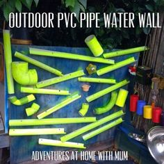 Outdoor water wall. This one uses a bunch of pvc pipe and an old piece of wood. Really inexpensive to make