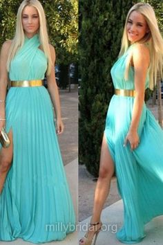 Blue Prom Dresses,A-line Prom Dresses, Halter Prom Dresses, Chiffon Long Formal Dresses, Pleats Evening Dresses, Elegant Party Gowns