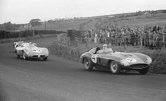 At Dundrod in 1955, Castellotti leads the DB-Panhard HBR of Claude Storez and the Cooper-Jaguar of Peter Whitehead.