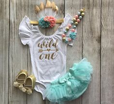 Wild One Girl First Birthday Outfit in Peach, Mint & Gold with Pettiskirt and feather headband - Cake Smash - Birthday Photos 1st Birthday Party For Girls, First Birthday Decorations, 1st Birthday Photos, Baby Girl First Birthday, First Birthday Outfits, First Girl, Birthday Ideas, Smash Cake Girl, Feather Headband