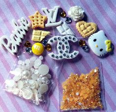 Yellow & White Kawaii DIY Cellphone Kit by CandyCells on Etsy
