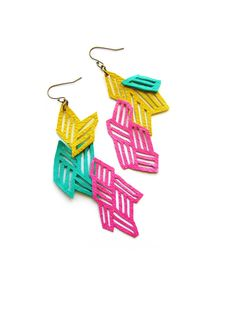 Geometric Leather Earrings Neon Pink and Teal by BooandBooFactory