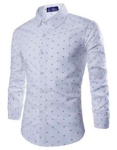 All-Over Anchor Tailored Fit Shirt White