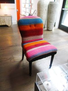 Mexican wool blanket as interesting upholstery fabric