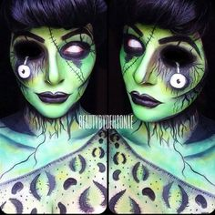 Products used: @Kryolan aquacolors in white for a base (that way when I apply the green it doesn't stain my skin) then I lightly patted #aquacolor in light green. @Sugarpill Cosmetics shadows in acid berry, buttercupcake midori. @lunatick_cosmetic_labs zombie defense pallet for the all black shading, @M∙A∙C Cosmetics lipstick in haute-core. @wolfefaceartfx in black white for all detail.