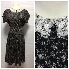 SALE Vintage Cotton Navy Black country dress with tiny white
